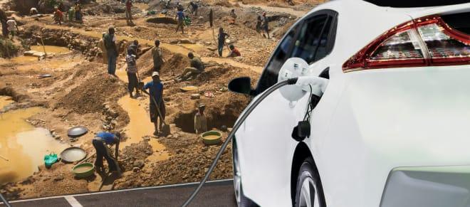 Collage Minenarbeiter im Kongo + E-Auto