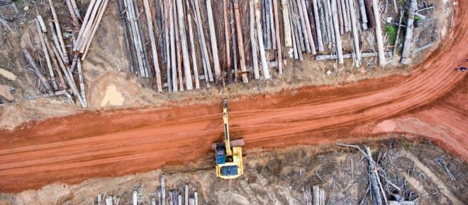 Luftbild: Bagger auf Rodung für Palmölplantage der Firma Korindo in Papua