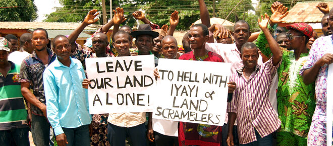 Protest gegen Okomu Oil Palm Oil in Nigeria