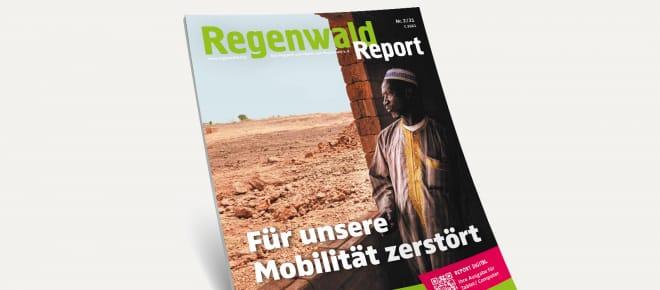 3D-Ansicht des Covers vom Regenwald Report 2/21