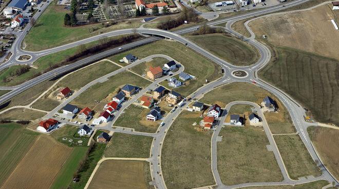 Luftbild eines Neubaugebiets in Ehingen