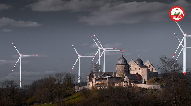 Fotomontage Sababurg im Reinhardswald und Windkraftanlagen