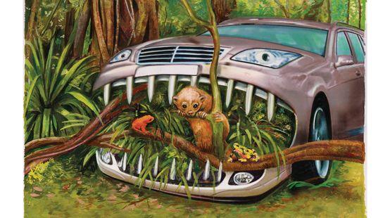 Auto frisst Regenwald und Tiere Frosch Affen