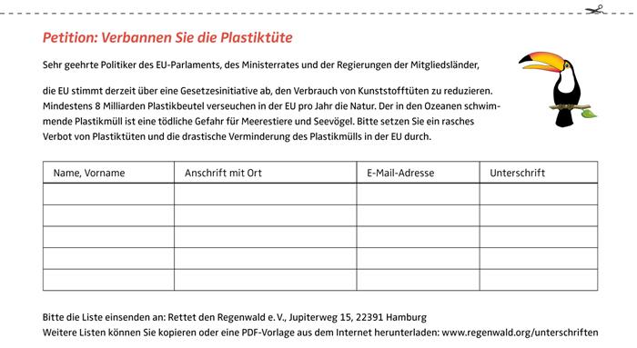 regenwald report 02 2014 eu aktion gegen plastikt ten stoppt die plastikt ten rettet den. Black Bedroom Furniture Sets. Home Design Ideas