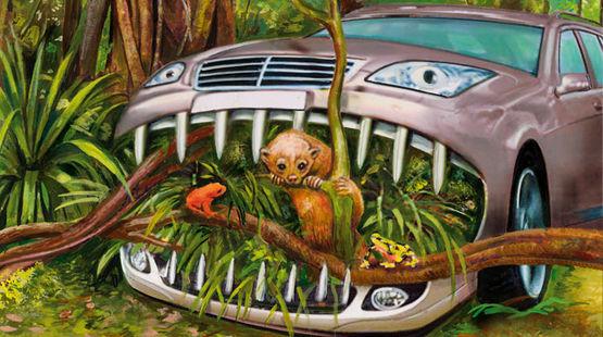 Ein Auto verschlingt den Regenwald