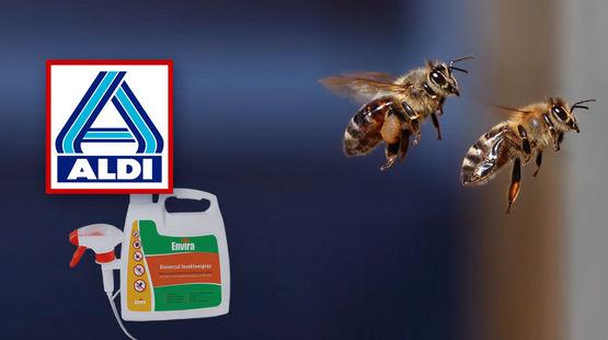 Über einem Insektenspray prangt das Logo von Aldi. Zwei ins Bild montierte Bienen scheinen davonzufliegen